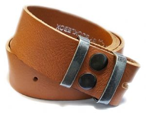 38mm Tan Soft Full Grain Snap Fit Leather Belt 1.5 inches wide